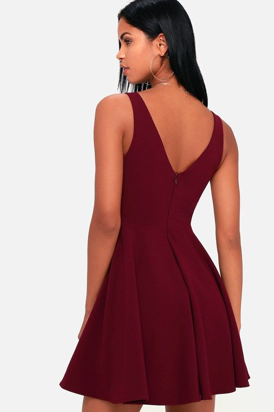 Lulus | Ariana Burgundy Skater Dress | Size X-Small | 100 .