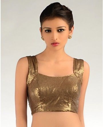 ANTIQUE GOLDEN COLORED SEQUINED SLEEVELESS BLOUSE (With images .