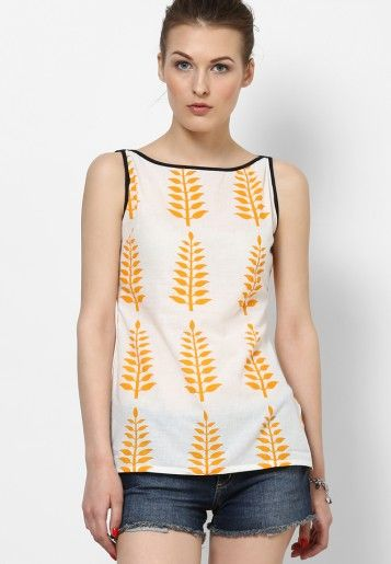Cotton Cream Printed Kurti 11€ (With images)   Jeans top design .