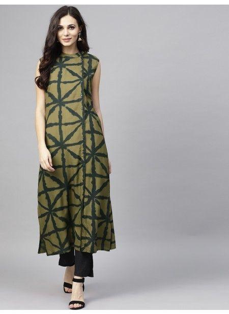 Olive Printed Sleeveless Kurta (With images) | Designer kurti patter