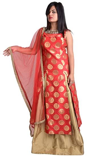 Buy OMAIRA Women's Art Silk Sleeveless Salwar Suit Set (Red and .