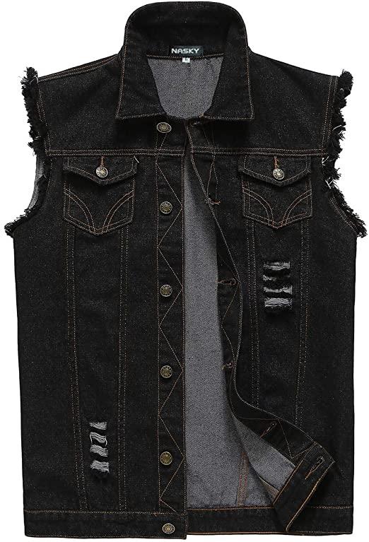 NASKY-Men's Fit Retro Ripped Denim Vest Sleeveless Jean Vest and .