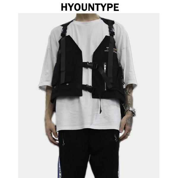 Fashion Hip Hop Sleeveless Vests Men Cargo Waistcoat with Pockets .