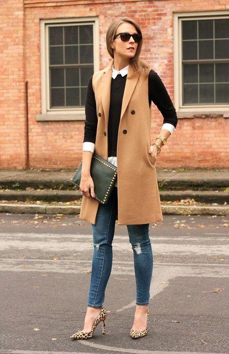 20 Looks with Long Sleeveless Vests Blazers Glamsugar.com .