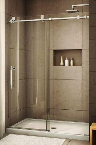 glass shower with sliding glass door by iheartjanda | Shower .