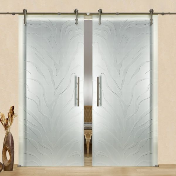 2-Leaf sliding glass barn door with frosted retro design | Glass .