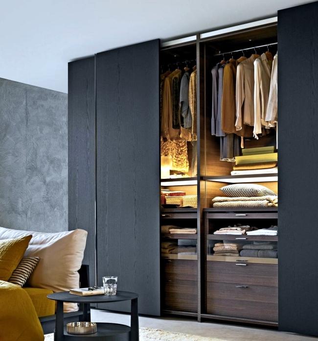 Wardrobe with sliding doors- a wonderful storage space. | Interior .