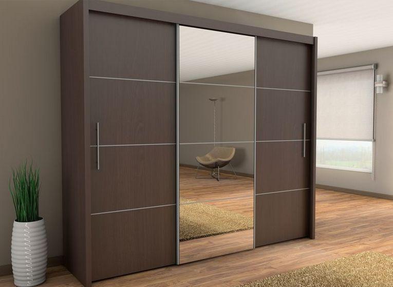 Sliding Three Door Wardrobe With Center Glass Id565 - Three Door .