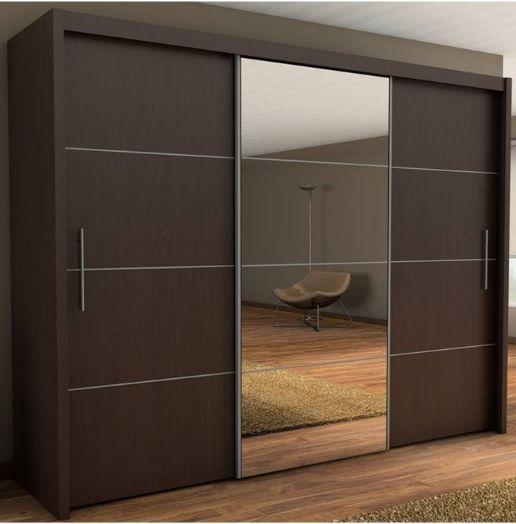 Inova Large Wenge/Brown 3 Door Sliding Wardrobe Slider 250cm (con .