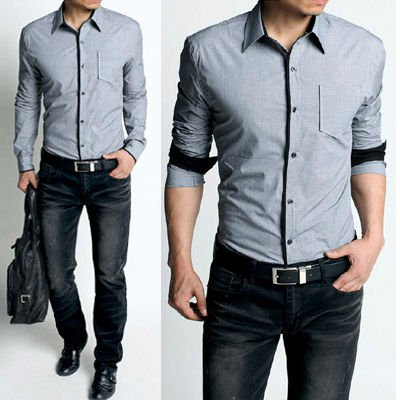 Shirts fashion Long sleeve Plaids Mens Shirt /Cotton Slim Fit .