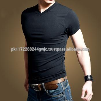 Best Price Cotton Plain V Neck T Shirts Men Blank Tshirt Slim Fit .