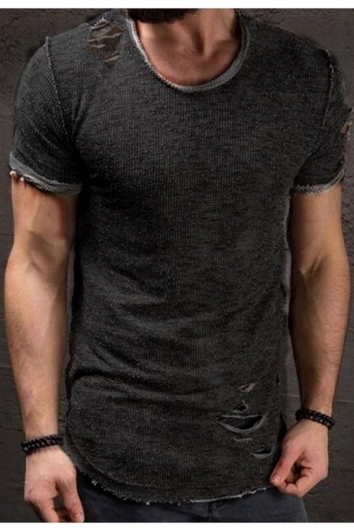 Retro Ripped Detail Basic Short Sleeve Solid Slim Fit T-Shirt for .