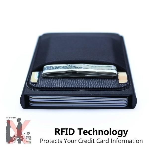 Men Business Aluminum Wallet with Or Without Back Pocket Cash ID .