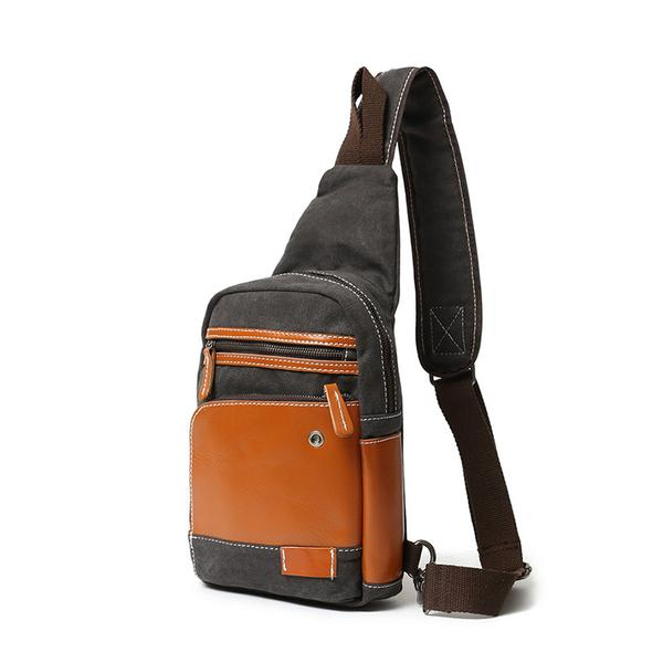 Latest Fashion Canvas Leather Chest Bag New Design Sling Bag .