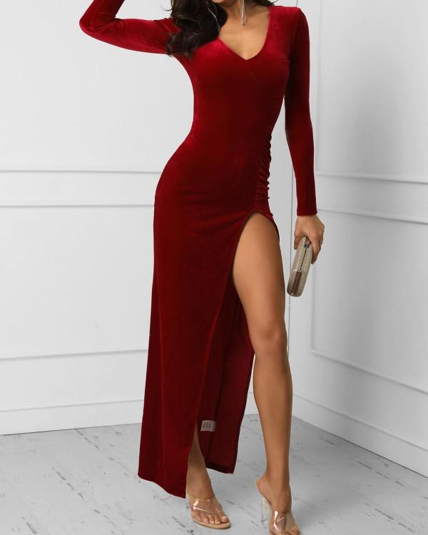 V-Neck Long Sleeve Thigh Slit Dress Online. Discover hottest trend .