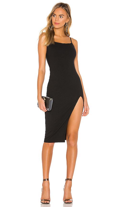 superdown Candace Slit Midi Dress in Black | REVOL