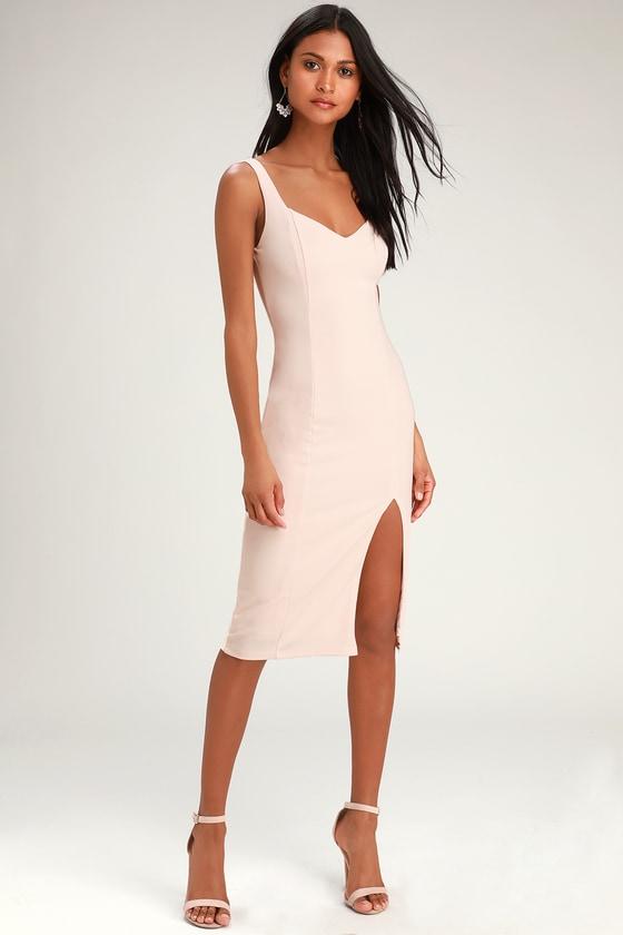 Cute Pink Midi Dress - Side Slit Dress - Pink Slit Midi Dre