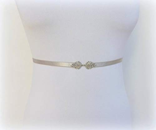 "Amazon.com: 0.4"" Womens Thin Silver Elastic Vintage Waist Belt ."