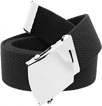 Amazon.com: Black Canvas Belt w/ Silver Buckle (One Size Fits All .