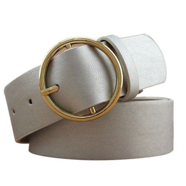 Women mental circle belts yellow gold sliver black pu leather .