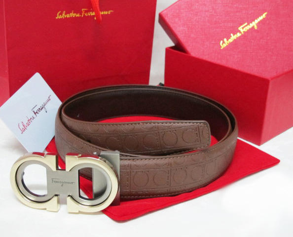 Discount Ferragamo Men Classic Reversible Logo Belt Sliver Gold .