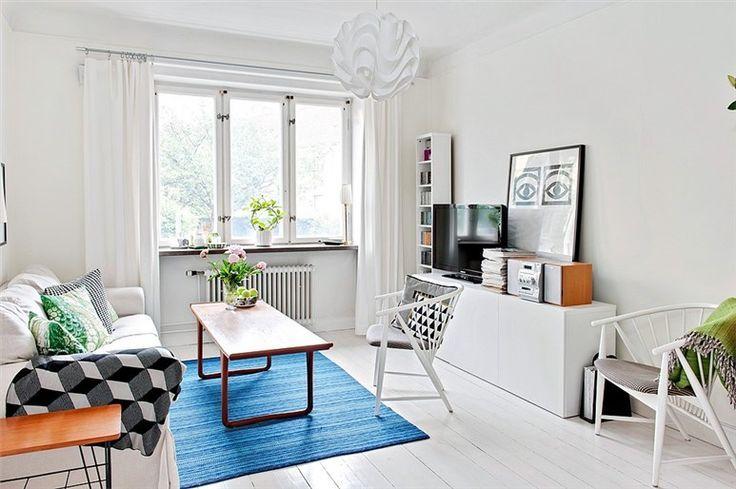 tiny-swedish-living-room-blue-carpet | Living room styles, Living .