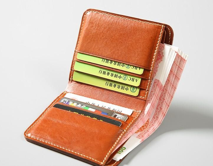 Handmade Leather Mens Slim Cool Short Leather Wallet Men Small .