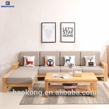 Latest Design Rubber Wood Living Room Furniture Corner Sofa Set .