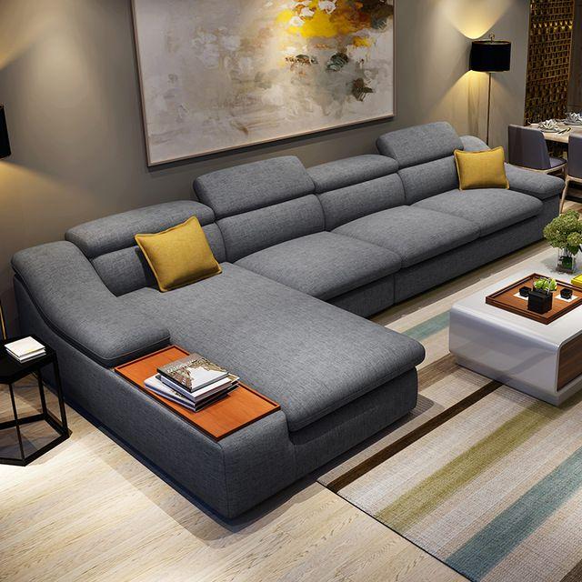 living room furniture modern L shaped fabric corner sectional sofa .