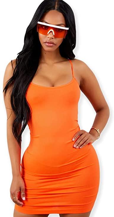 Neon Bodycon Mini Dress with Spaghetti Straps at Amazon Women's .