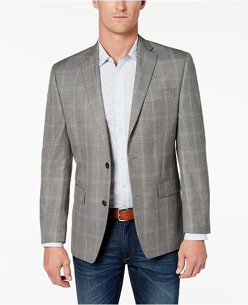 Michael Kors Men's Classic-Fit Grey Plaid Sport Coat & Reviews .