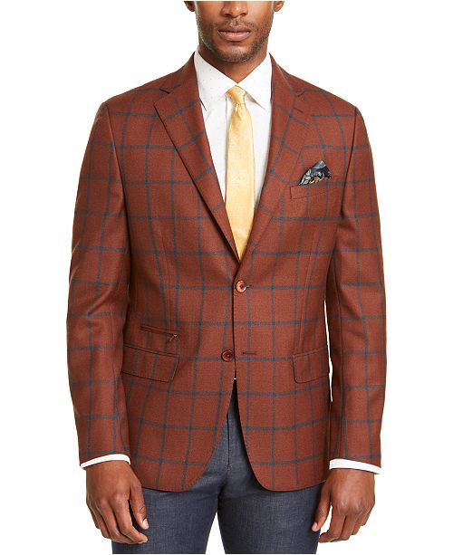 Tallia Men's Slim-Fit Rust/Teal Windowpane Sport Coat & Reviews .