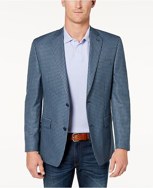 Michael Kors Men's Classic-Fit Blue Check Sport Coat & Reviews .