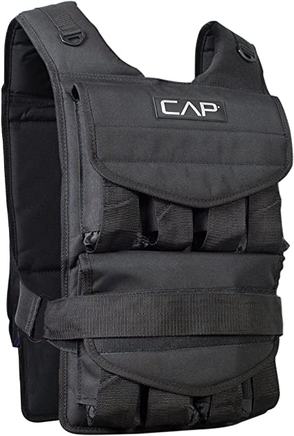Amazon.com : CAP Barbell Adjustable Weighted Vest, 100 lb : Sports .