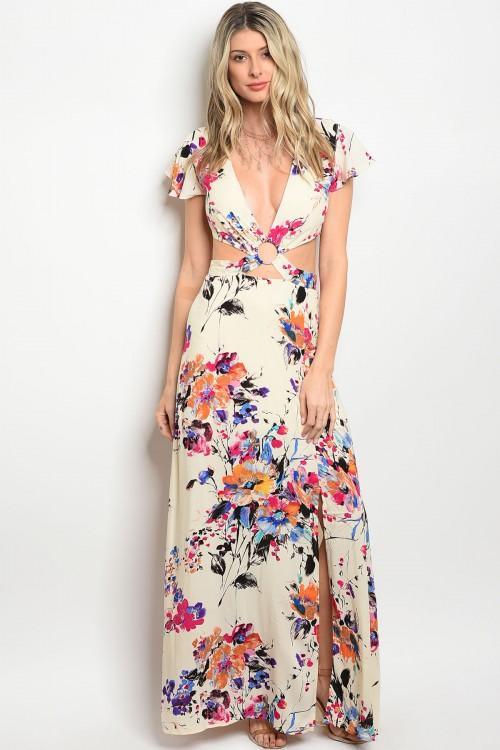 Spring Floral Cut Out Maxi Dress – Everlei