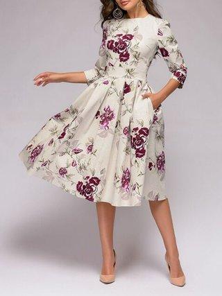 JustFashionNow Party Dresses Floral Dresses Daily A-Line Crew Neck .