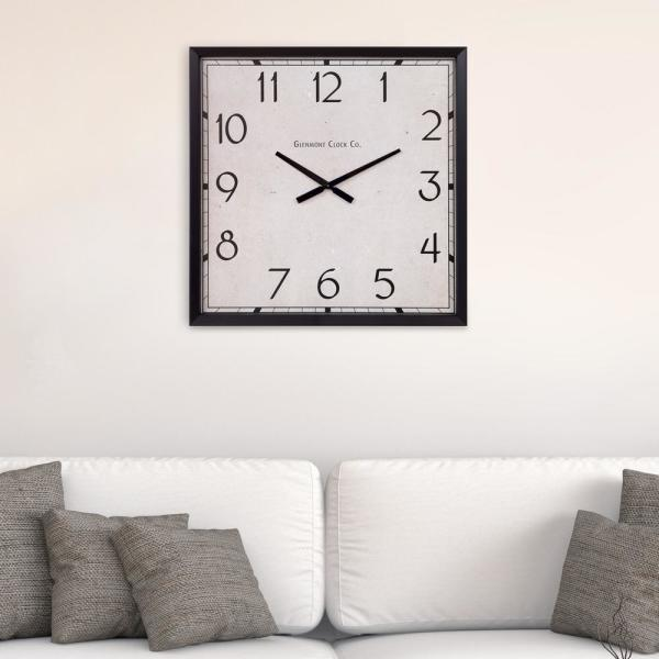 Pinnacle Modern Square Black Wall Clock 1503-6106LOW - The Home Dep