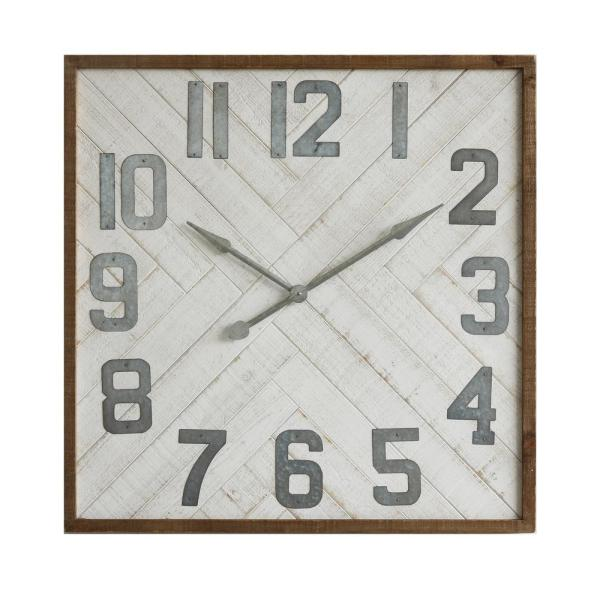 3R Studios Grey Square Wood and Metal Wall Clock DA7663 - The Home .