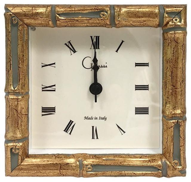 Wooden Faux Bamboo Square Clock - Asian - Alarm Clocks - by The .