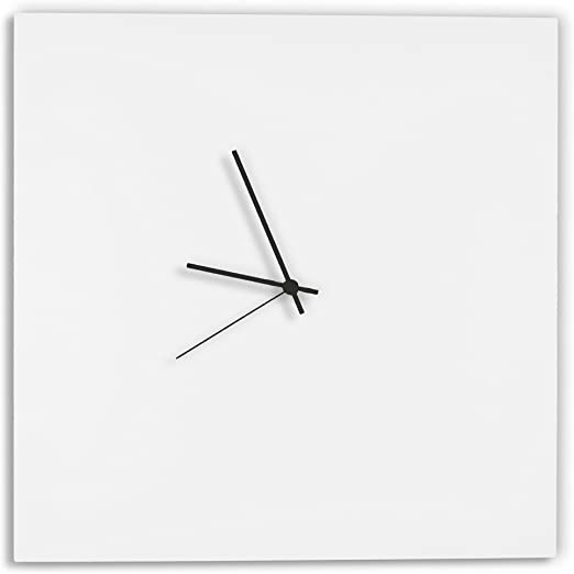 Amazon.com: Modern White Clock 'Whiteout Black Square Clock .