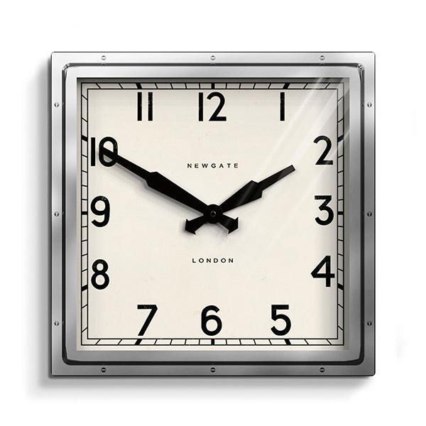 Industrial Metal Wall Clock | Square Chrome – Newgate World .