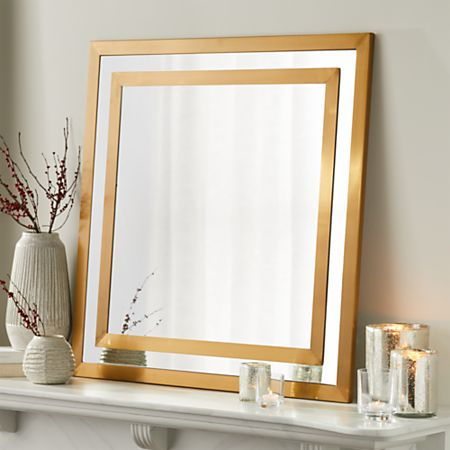 Square Brass Double Framed Mirror + Reviews | Crate and Barr