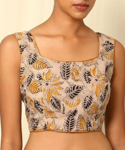 Printed Square Neck Blouse | Fashion blouse design, Embroidered .
