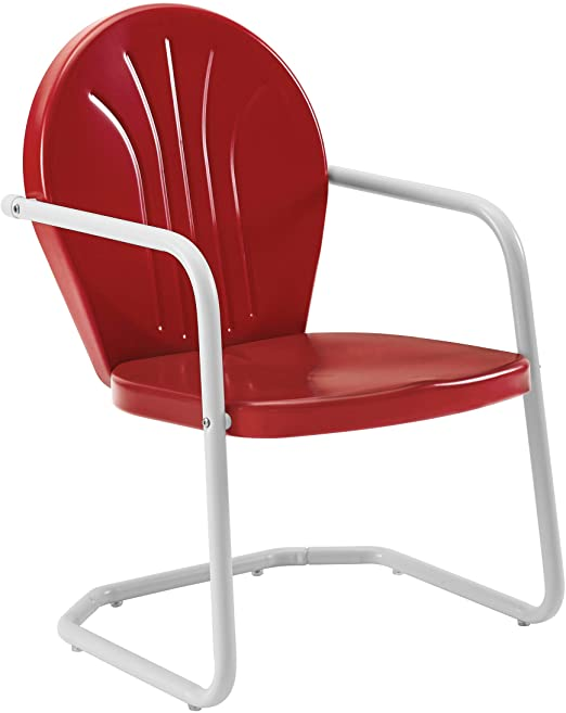Amazon.com : Crosley Furniture Griffith Metal Outdoor Chair - Red .