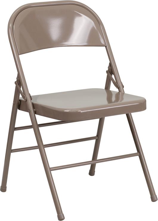 Beige Metal Folding Chair With 18 Gauge Steel Fra
