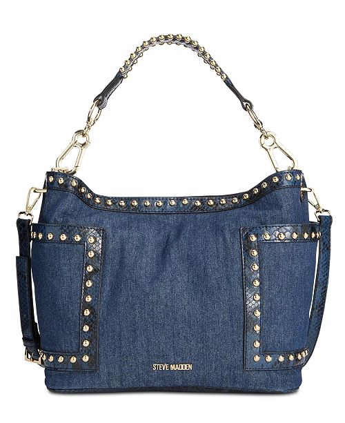 Steve Madden Denim Studded Bucket Bag & Reviews - Handbags .