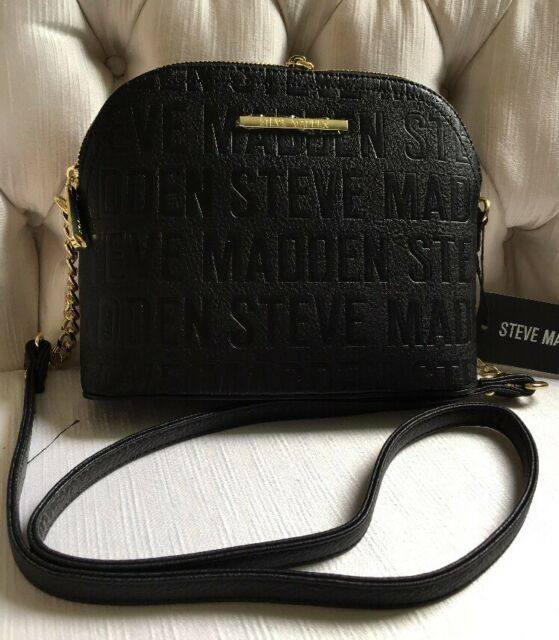 Steve Madden Handbag Bmarilyn Stamped Logo Black With Gold .