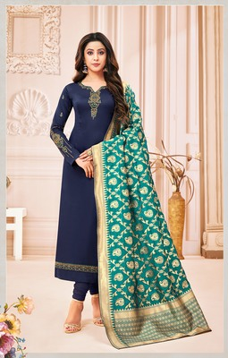 Designer Pure Cotton Jam Silk Semi-Stitched Salwar Suit - Roykals .