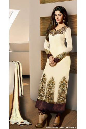 Designer Churidar Semi Stitch Salwar Suit With Cream Colour at Rs .