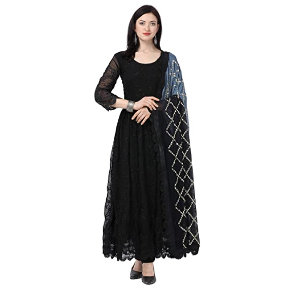 Buy Ethnic Wings Women's Georgette & Silk Semi-Stitched Salwar .